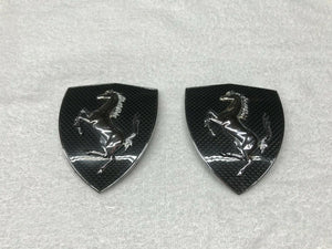FERRARI 458 CARBON FIBER FENDER SHIELDS BADGE EMBLEM KIT SET OEM 70003770