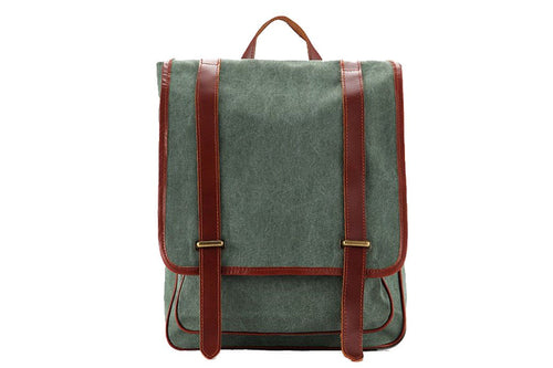 Waxed Canvas Backpack with Leather Trim 1831