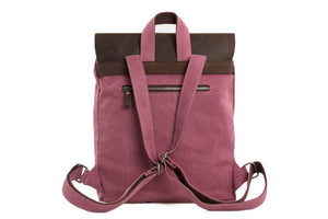 Handmade Canvas Leather School Backpack 6876A
