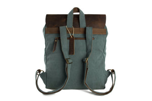 "15"" Handmade Canvas Leather Backpack 6876A"
