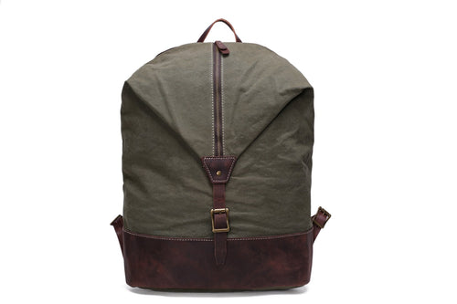 Leather Trimmed Waxed Canvas Backpack  YD2108