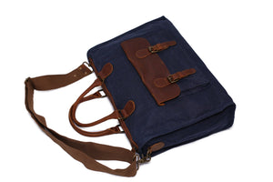 Waxed Canvas and Leather Messenger Bag YD2167