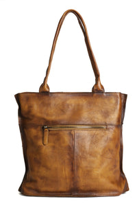 Vintage Brown Leather Tote Bag DD103