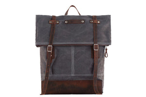 Waxed Canvas Backpack with Leather Trim 1004
