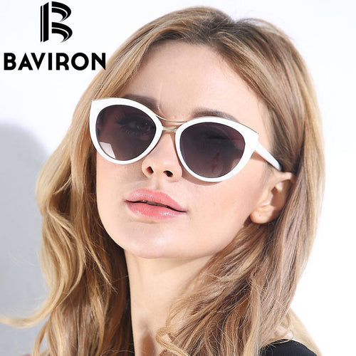 Baviron White Frame Cat Eye Sunglasses UV400 8527