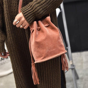 Women Bag Scrub Tassel Shoulder Bags