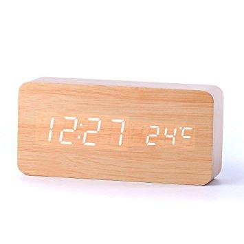 LED Alarm Clock Wooden