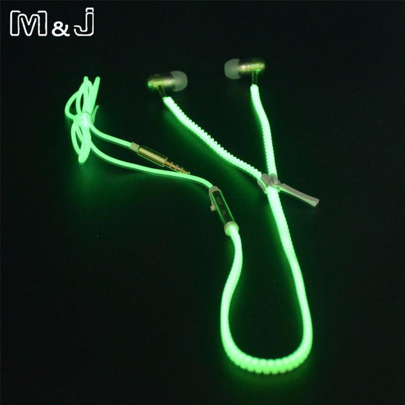 Glowing Luminous Light Zipper Earbuds