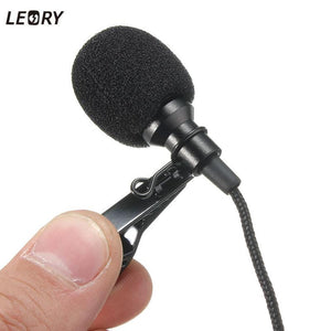 Mini 3.5mm Jack Microphone Tie Clip Mic For Speaking Speech Lectures 2.4m Long Cable
