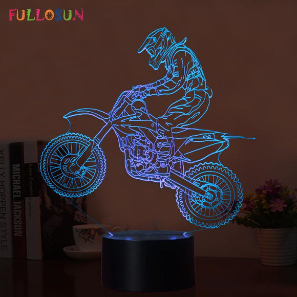 Fullosun Novelty 3D Table Lamp 3D Motocross Bike Night Lights LED USB 7 Colors Sensor Desk Lamp as Holiday Gifts