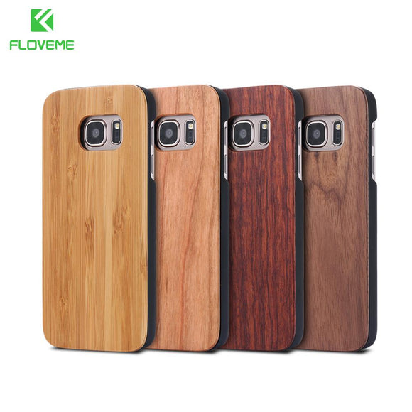 FLOVEME For Samsung Galaxy S8 Plus Real Wooden Case For Samsung S8 Galaxy S7 S6 Edge Cases Cover Wood Bamboo Phone Accessories
