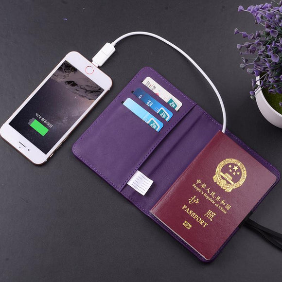 Passport Cover Genuine Leather Phone Power Bank