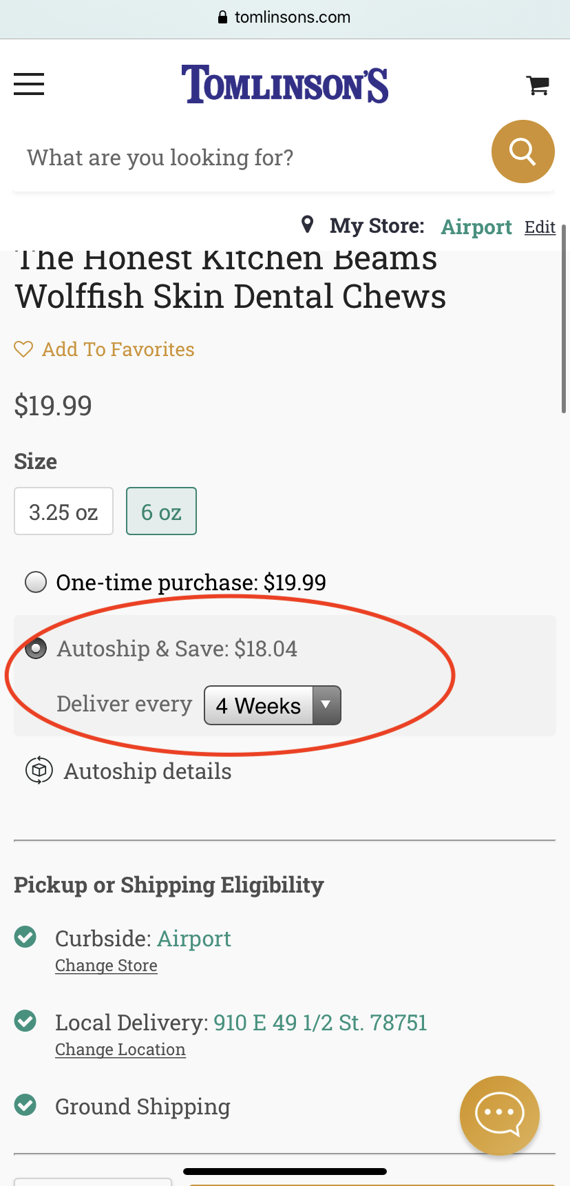 Autoship Discount on Mobile