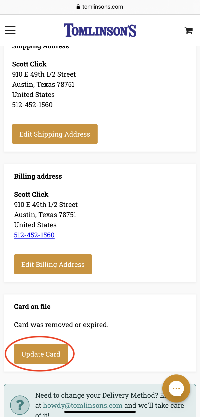 Selecting Your Card on File on Mobile
