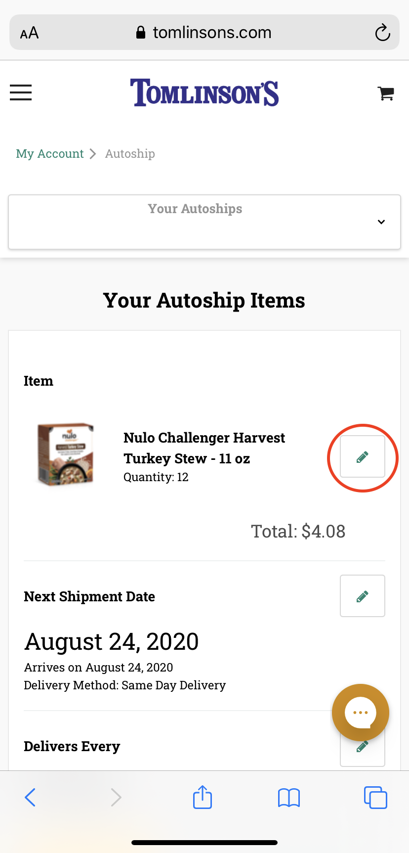 Editing an Autoship Date on Mobile