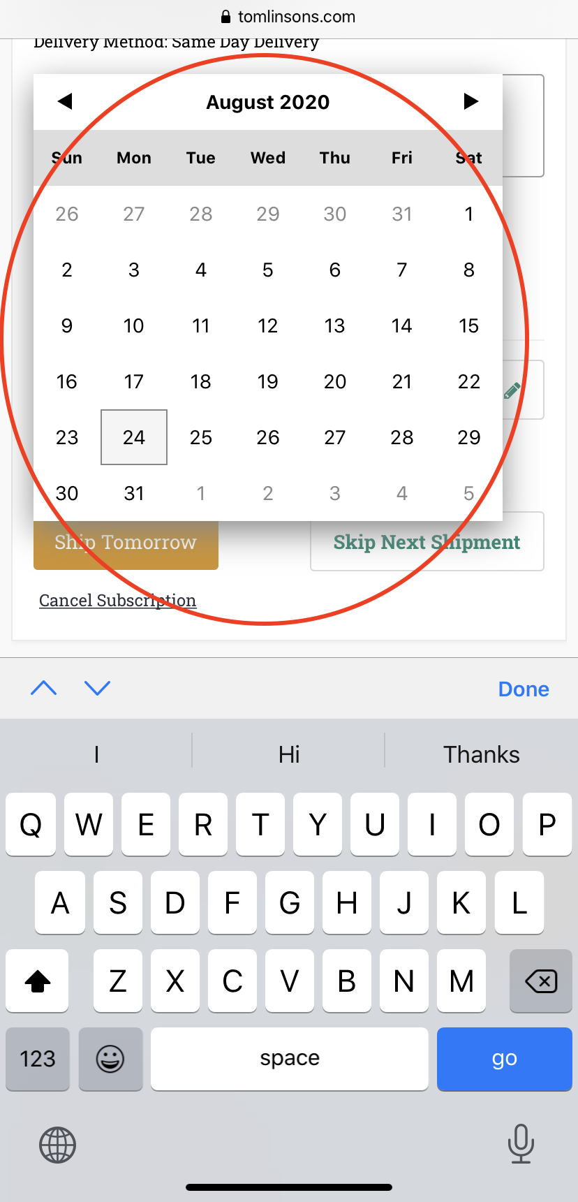 Selecting an Autoship Date on Mobile