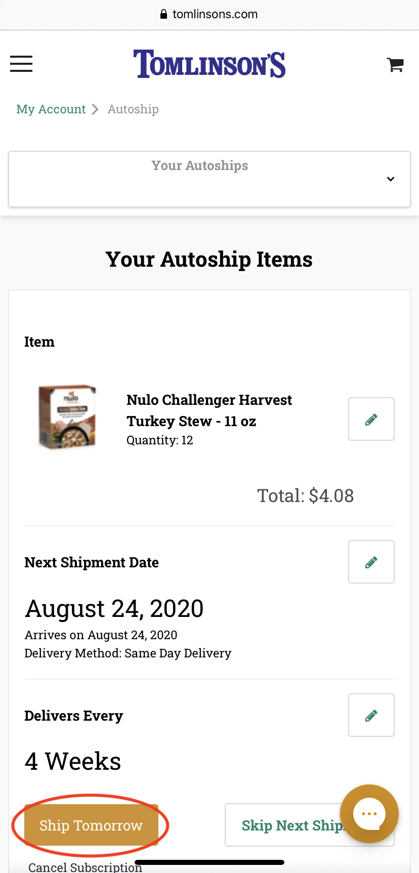 Shipping Your Autoship Tomorrow on Mobile