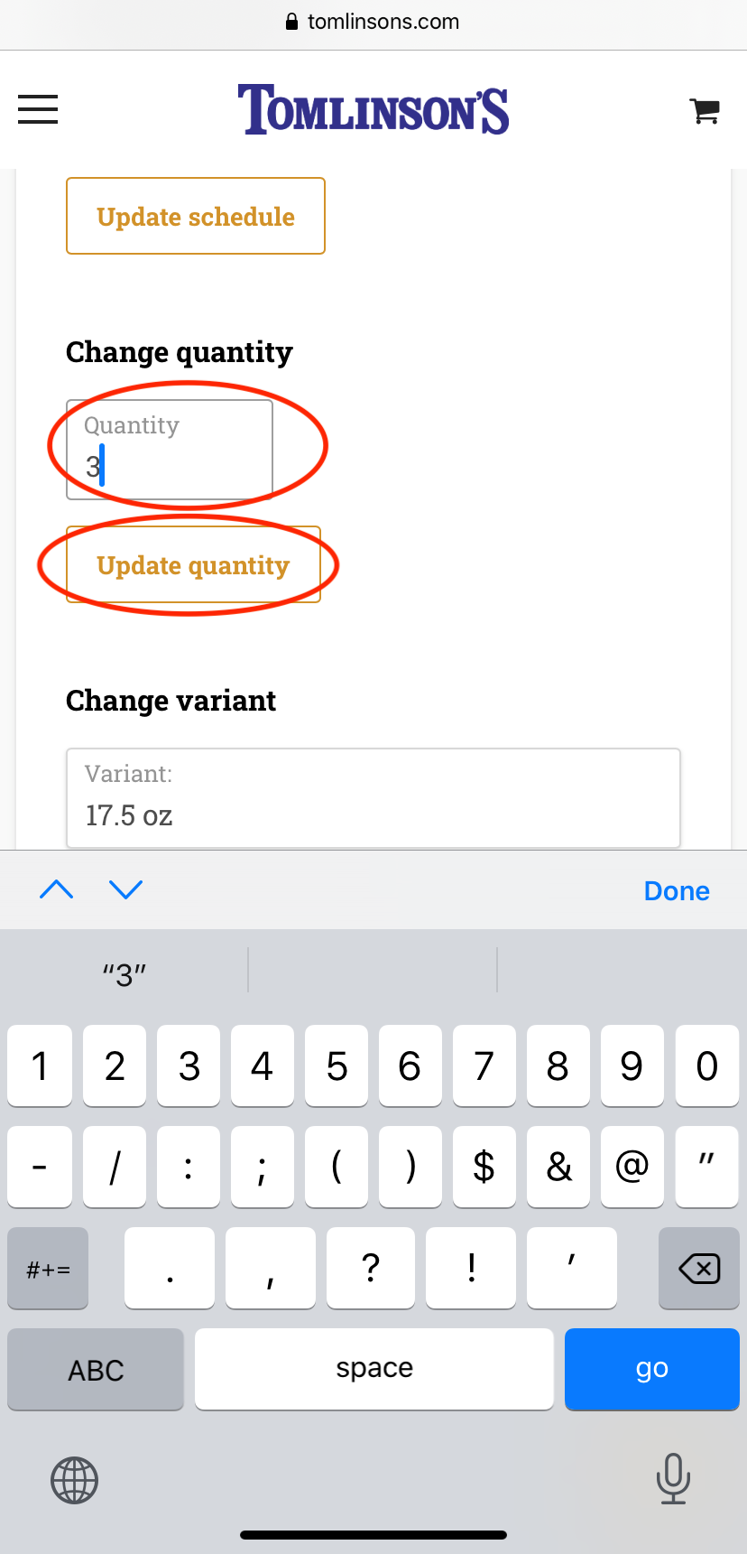 Updating Quantity on Mobile