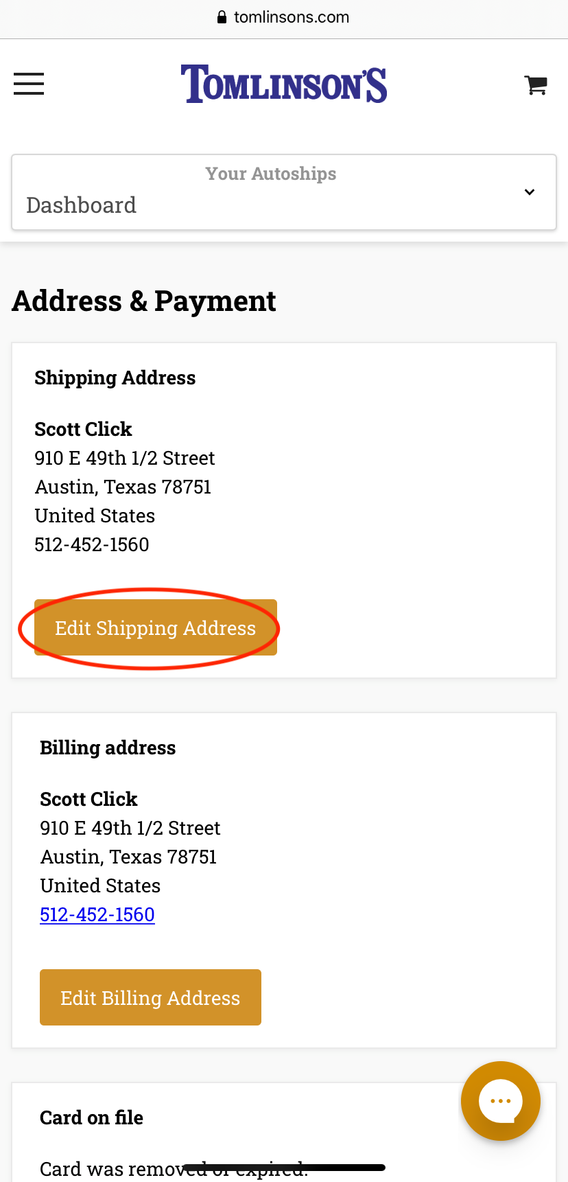 Selecting Your Address on Mobile