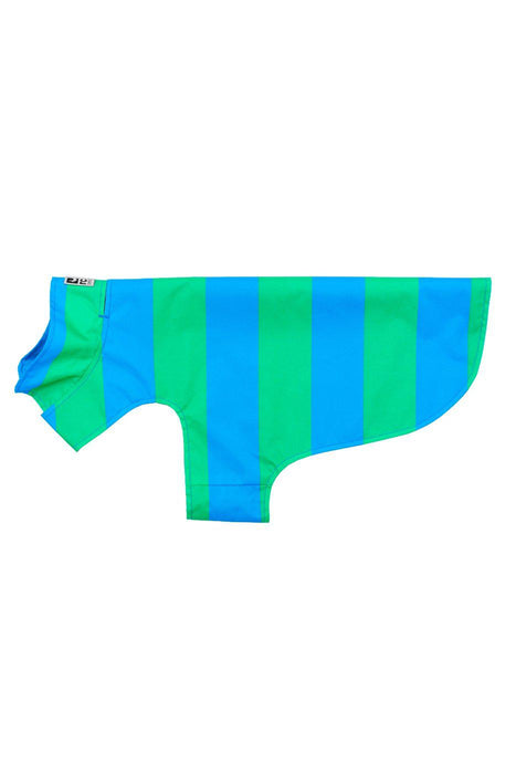 RC Pets Delta Rain Slicker Cyan Stripe Dog Jacket