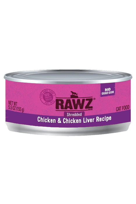 RAWZ Shredded Chicken & Chicken Liver Cat Food Can