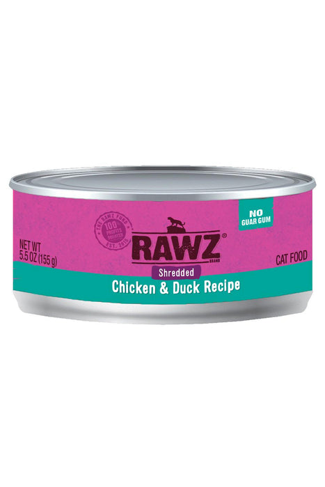Rawz Shredded Chicken & Duck Cat Food Can