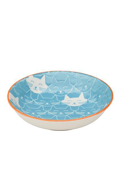 Ore' Pet Ceramic Whisker Blue Cat Bowl