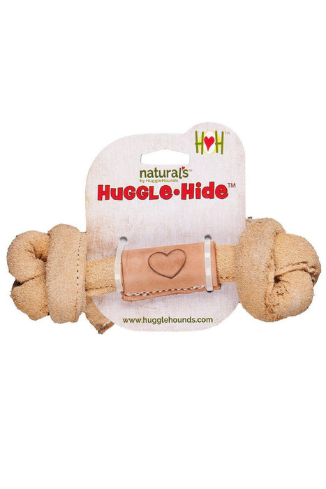 Huggle-Hide Leather Bone Dog Toy