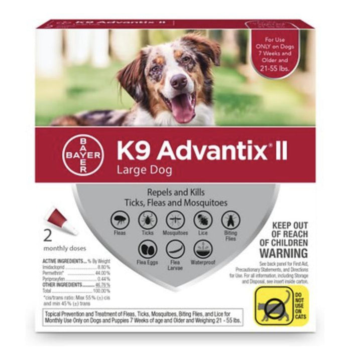 K9 Advantix II Flea & Tick Control 2-Pack, 21-55 lbs