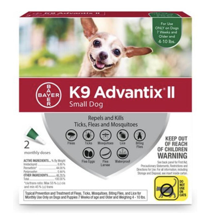K9 Advantix II Flea & Tick Control 2-Pack, Up to 10 lbs