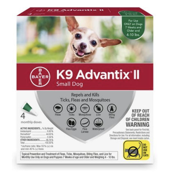 K9 Advantix II Flea & Tick Control 4-Pack, Up to 10 lbs