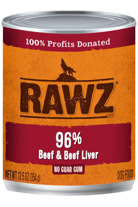 Rawz 96% Beef & Beef Liver Dog Food Can