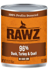 Rawz 96% Duck, Turkey, & Quail Dog Food Can
