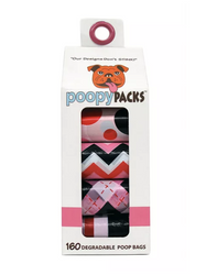 Metro Paws Poopy Packs Pink 8-Pack Dog Bags