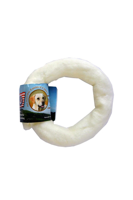"Wholesome Hide 4"" Donut Rawhide Dog Treat"