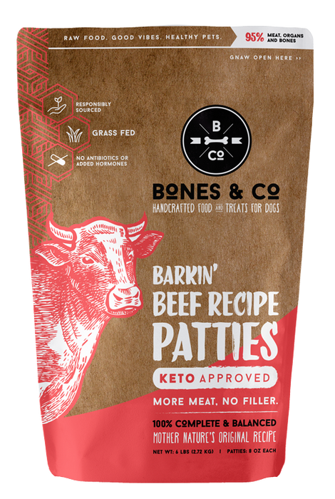Bones & Co. Barkin' Beef Patties Frozen Raw Dog Food