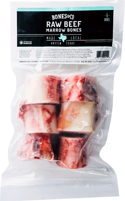 Bones and Co. Raw Beef Marrow Bones Dog Treats, 2-inch