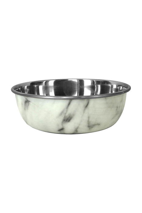 Dineasty Dipped On dog Bowl White Marble, Medium