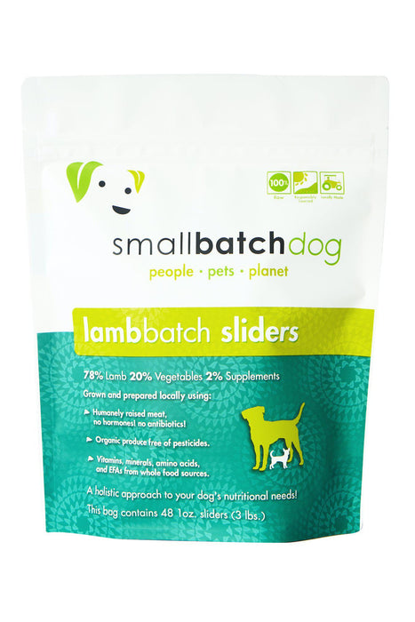 Small Batch Lamb Frozen Raw Dog Food, Sliders
