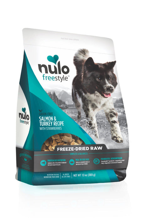 Nulo Freestyle Freeze Dried Raw Salmon, Turkey, & Strawberries Dog Food