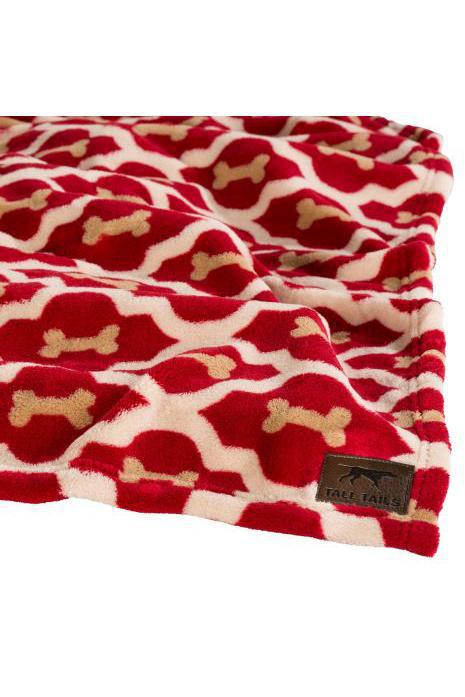 Tall Tails Red Bone Fleece Dog Blanket, Medium
