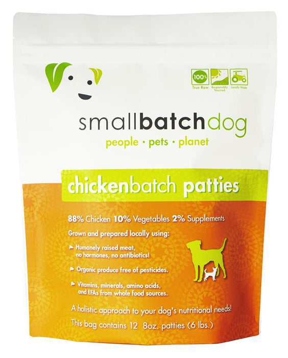 Small Batch Chicken Frozen Raw Dog Food Patties Tomlinsons Feed