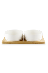 BeOneBreed Bamboo Tray with White Dog Bowls