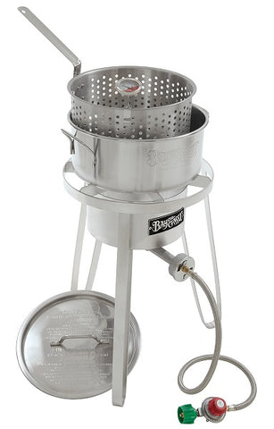 Bayou Classic Stainless Fry Pot, Lid, Cooker, 10 psi, Therm 1135  Cooker - BayouClassicShop