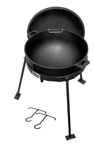 Bayou Classic CI7405 5-gal Jambalaya Pot, Cast Iron Lid, and Stand