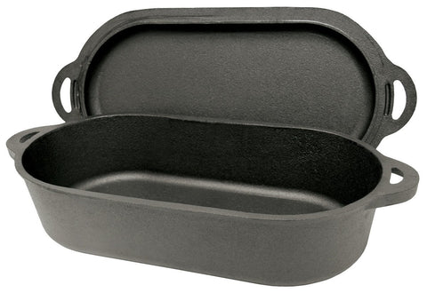 Bayou Classic 6 Quart Cast Iron Oval Fryer With Griddle Lid - BayouClassicShop