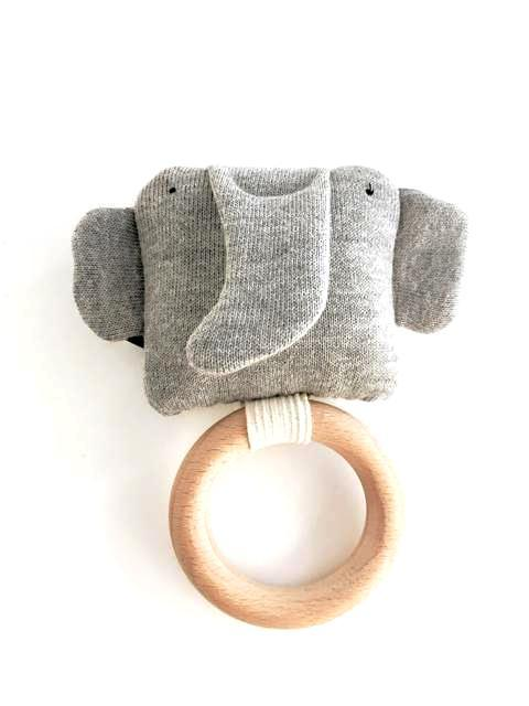 Organic Elephant Rattle/Teething Ring