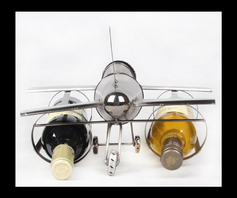 Creative Handmade Iron Art Airplane Model Wine Bottle Holder