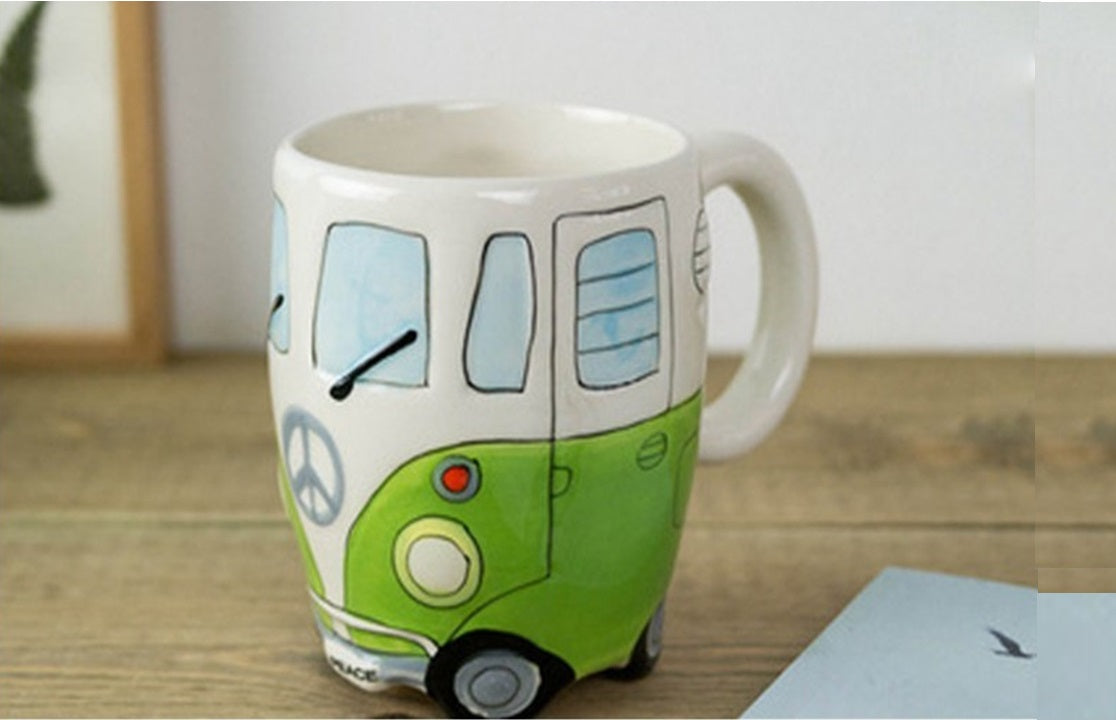 Creative Cartoon Double Bus Mugs Hand Painting Retro Ceramic Cup