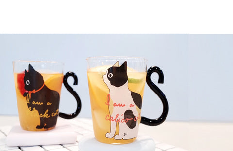 Cute Creative Cat Kitty Glass Mug